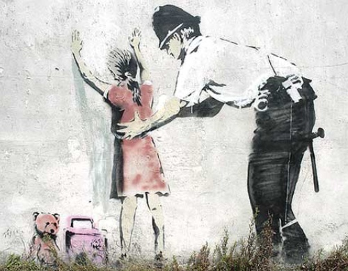 Policeman Searching Girl by Banksy